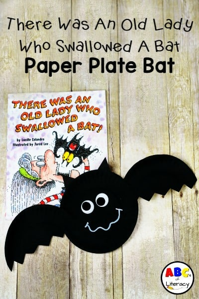 Paper Plate Bat Craft, Bat Craft, Paper Plate Craft, There Was An Old Lady Who Swallowed A Bat Paper Plate Bat, Halloween Craft, Book Inspired Craft