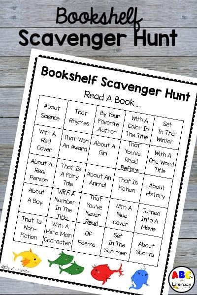 Bookshelf Scavenger Hunt, Book Scavenger Hunt, Scavenger Hunt