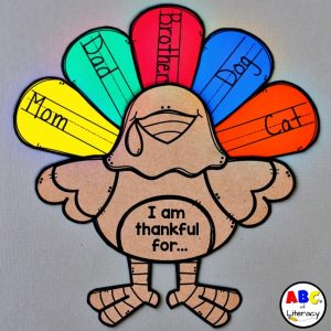 """I Am Thankful For…"" Turkey Feathers Writing Activity"