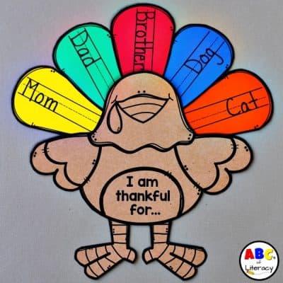 """I Am Thankful For…"" Turkey Feathers Writing Activity"