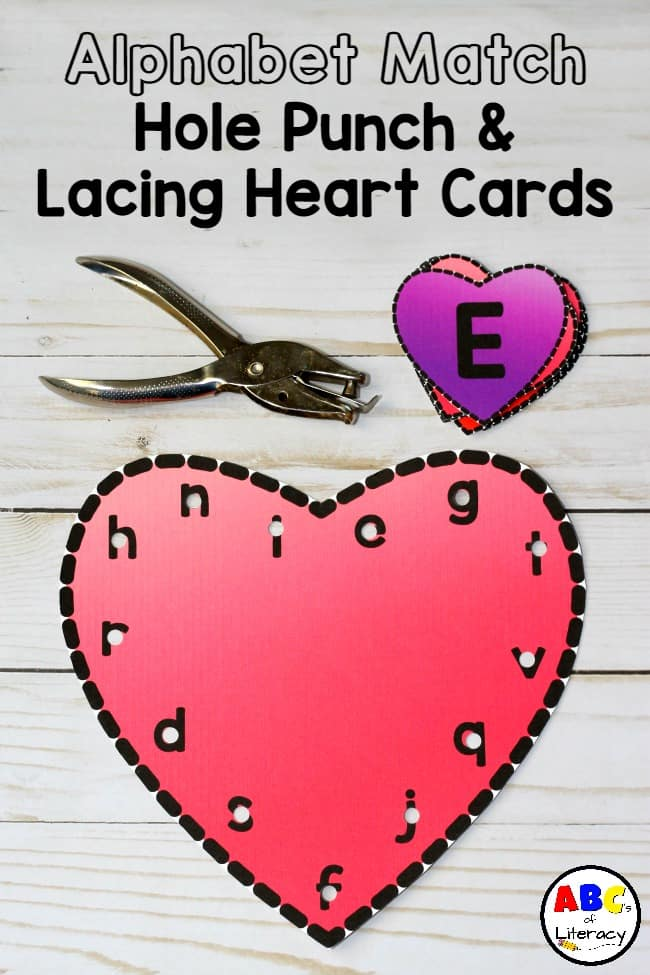Alphabet Match, Punch, Lacing Heart Cards; Alphabet Match Activity; Lowercase and Uppercase Match Activity; Fine Motor Activity, Hole Punch Cards, Lacing Cards, Lacing Heart Cards, Alphabet Match, Hole Punch, And Lacing Heart Cards