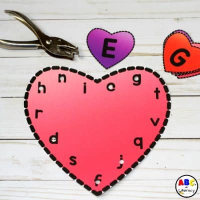 Alphabet Match, Punch, And Lacing Heart Cards