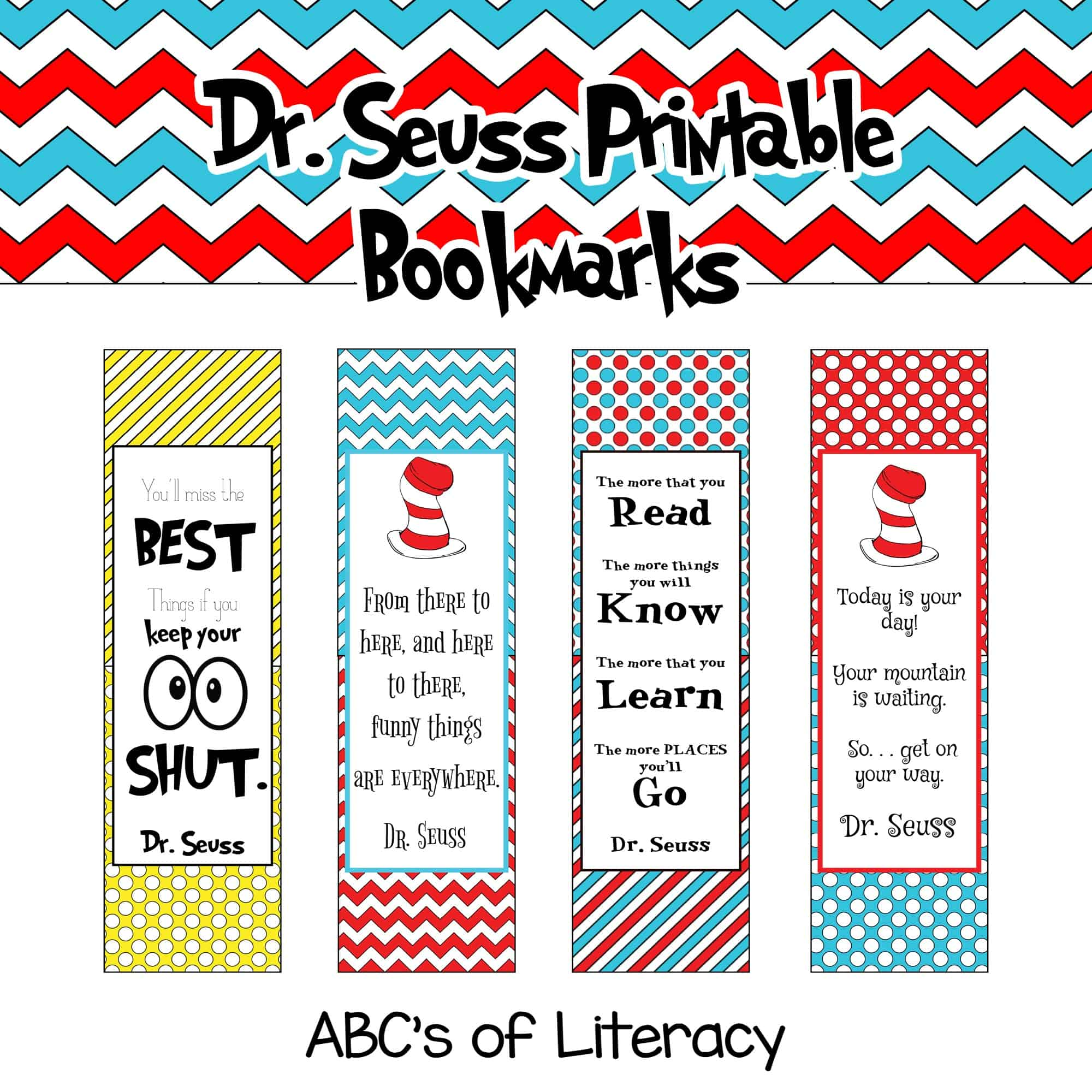 Celebrate Dr Seuss Day On March 2nd And Keep Track Of What Page You Are  Reading With These Free Dr Seuss Printable Bookmarks Click On The Picture  Below
