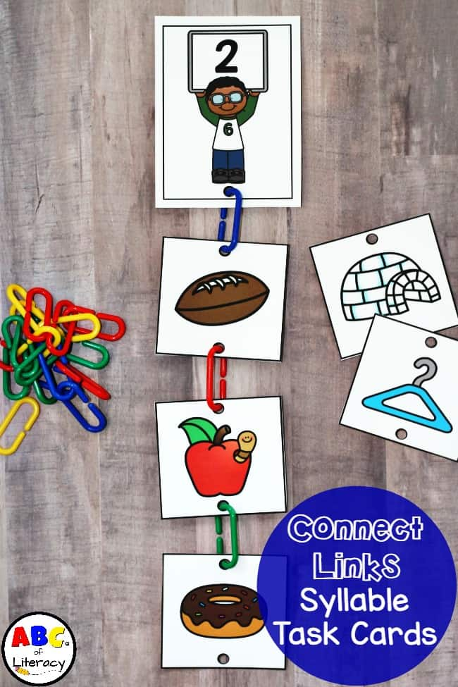 Connect Links Syllable Sort Task Cards, Syllable Task Cards, Syllable Activities, Syllable Sort, Syllable Sort for Kindergarten, Syllable Sort for 1st Grade, Syllable Activities, Syllable Activity