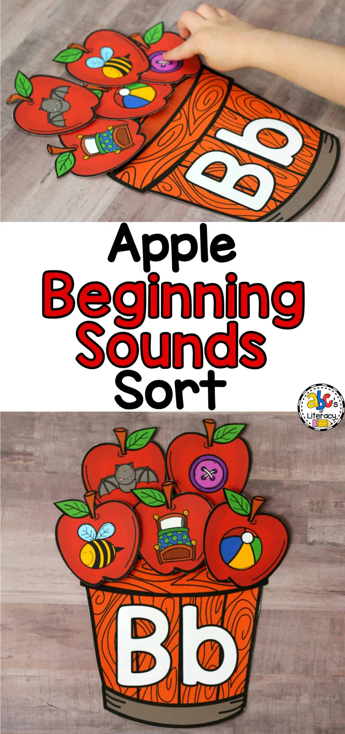 Apple Beginning Sounds Sort, Apple Literacy Center, Apple Morning Tub, Fall Literacy Center, Fall Morning Tub, Beginning Sounds Sort, Beginning Sounds Activity