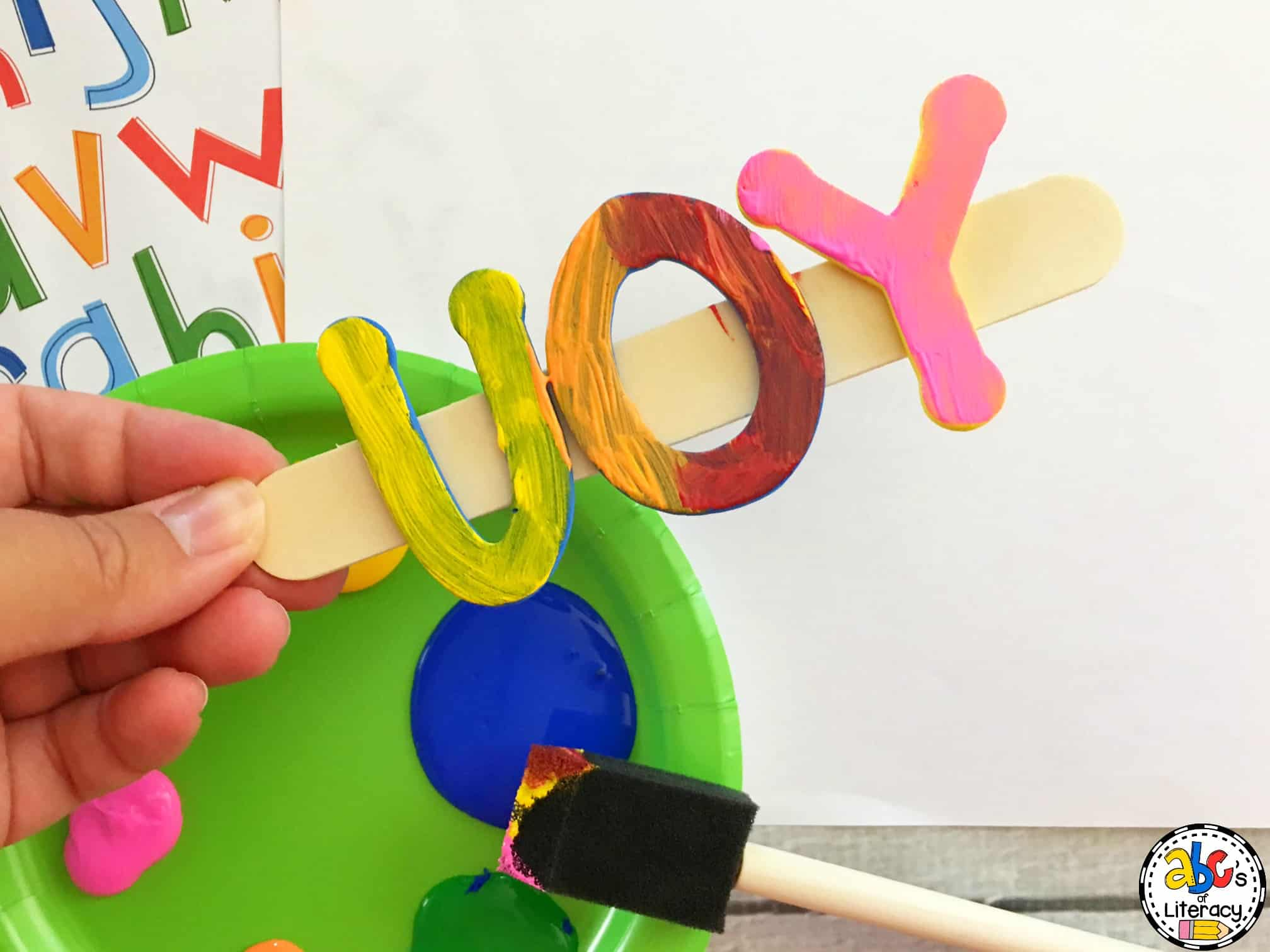 How to make sight word stamps for literacy centers you can use one color or try painting the letters with a few different colors so the words look sciox Image collections