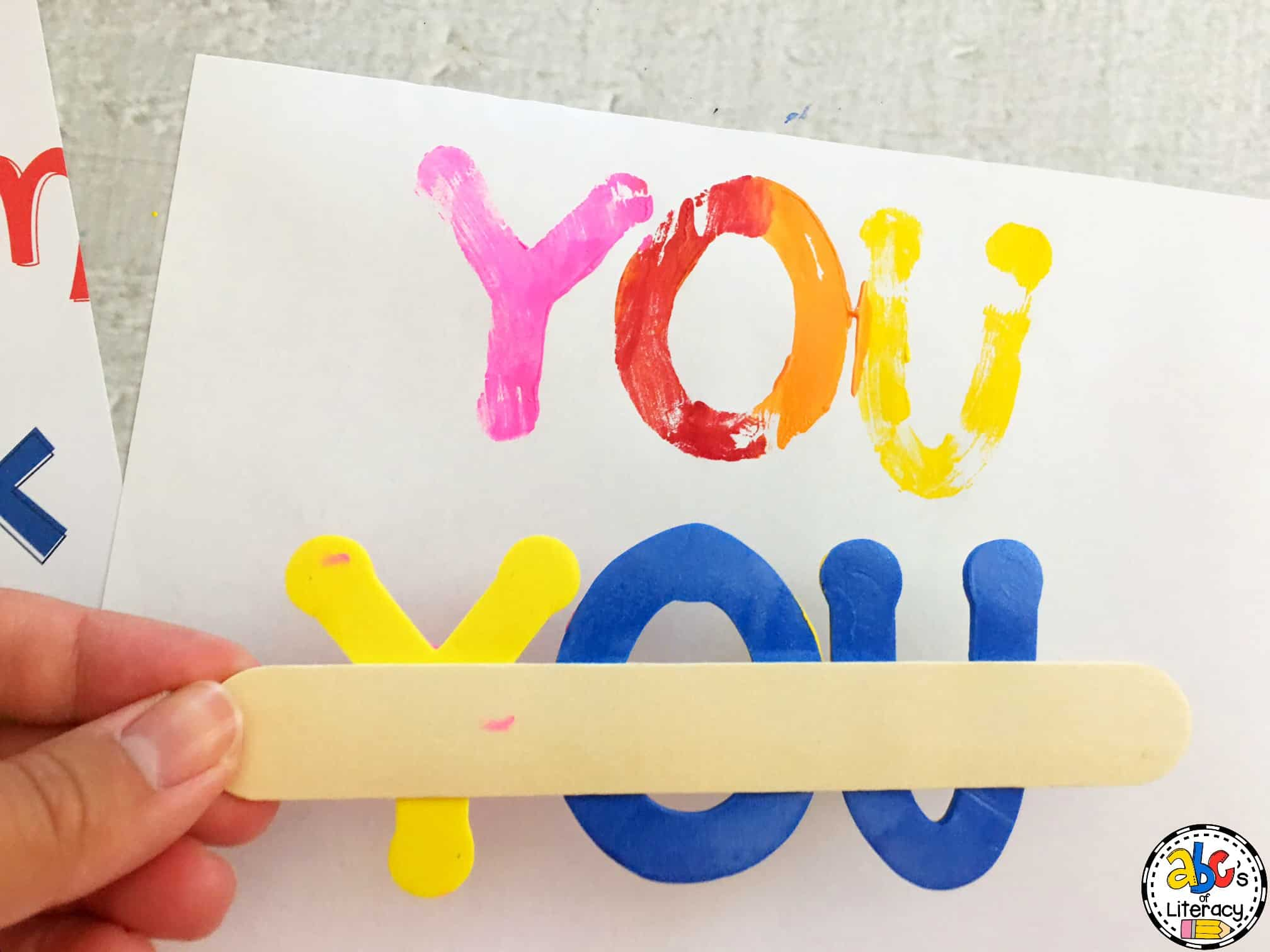 How to make sight word stamps for literacy centers next stamp your words onto a piece of white paper by holding each end of the craft stick and lightly pressing down on the letters then carefully lift the sciox Image collections