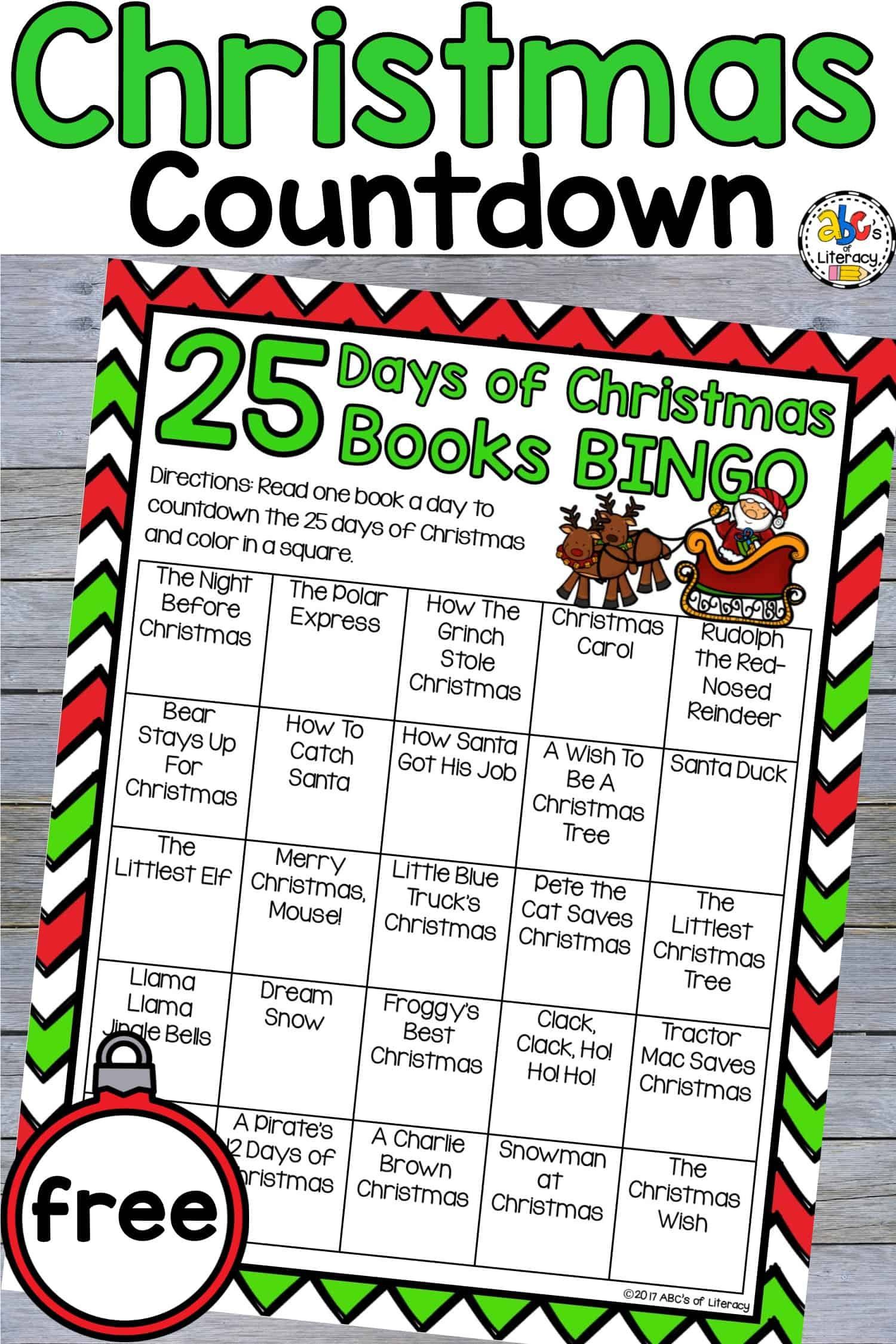 25 Days of Christmas Books BINGO