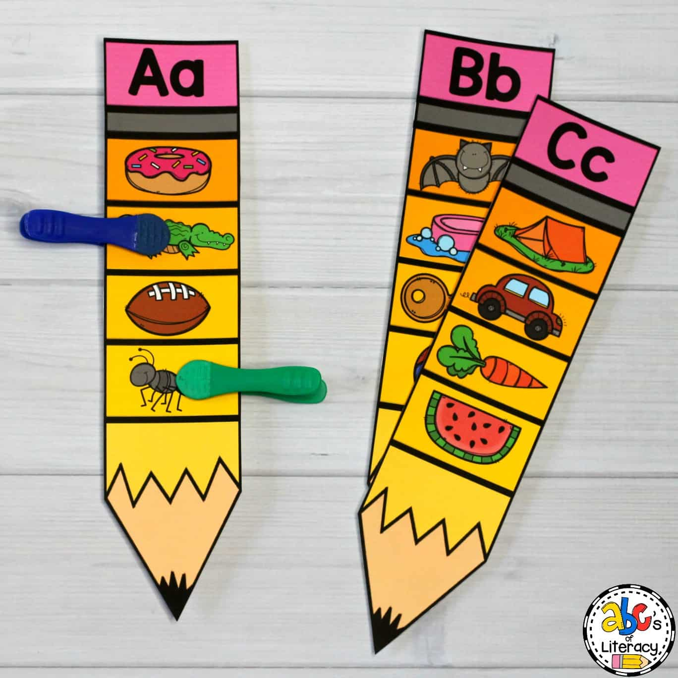 Pencil Beginning Sounds Clip Cards