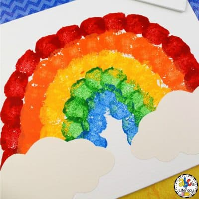 Cotton Ball Rainbow Painting Craft