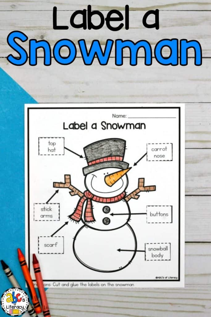 Label a Snowman, Parts of a Snowman, How To Build A Snowman, Label a Snowman Worksheet, Cut and Paste Worksheet, Parts of a Snowman Worksheet