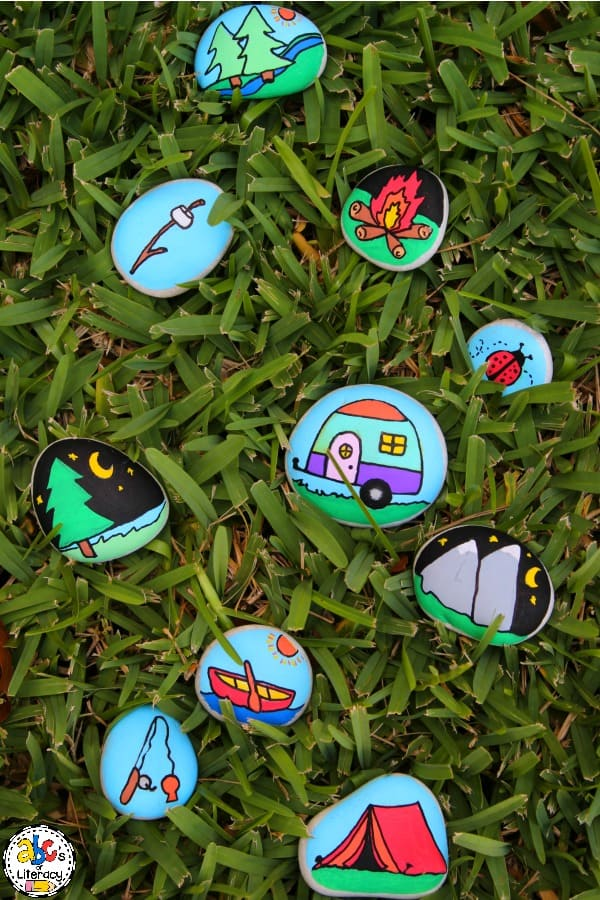 Camping Story Stones, Story Stones, Writing Center, Creative Writing Activity, Writing Activity