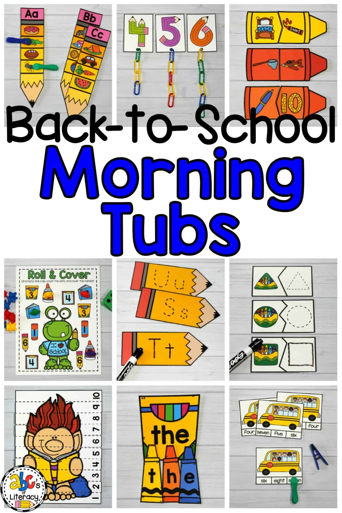 This set includes 5 literacy and 5 math morning tubs that are perfect for preschoolers, kindergartners, and first graders.