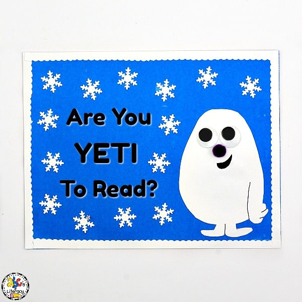 """Are You Yeti To Read?"" bulletin board inspired by The Thing About Yetis"