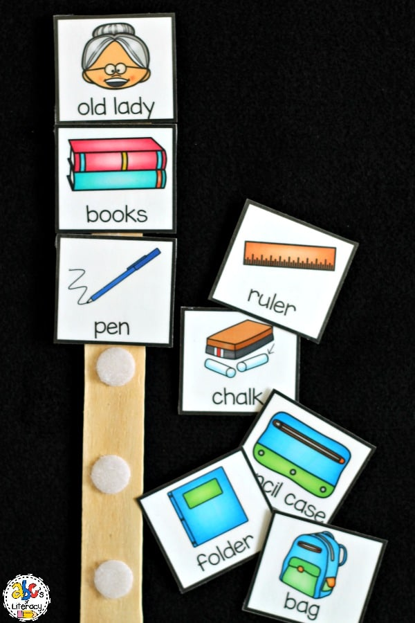 Using theThere Was An Old Lady Who Swallowed Some Books Sequence Stick is a hands-on way to retell the story and put the items in sequential order.