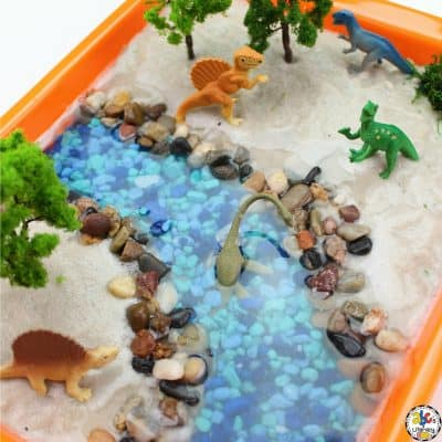 Dinosaur Sensory Bin Idea For Hands-On Learning