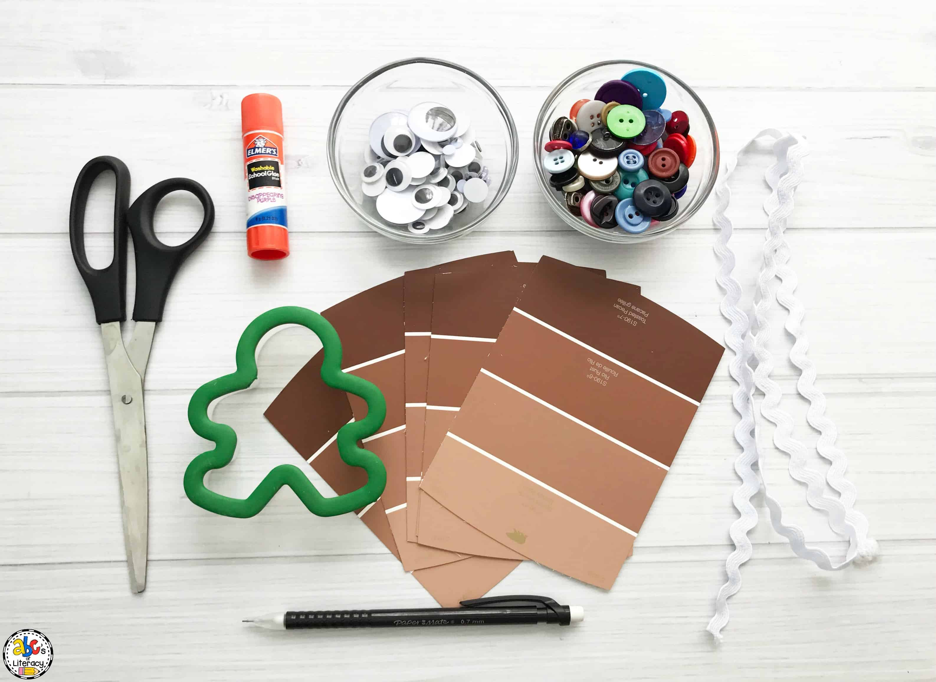supplies needed for this paint chip gingerbread man craft