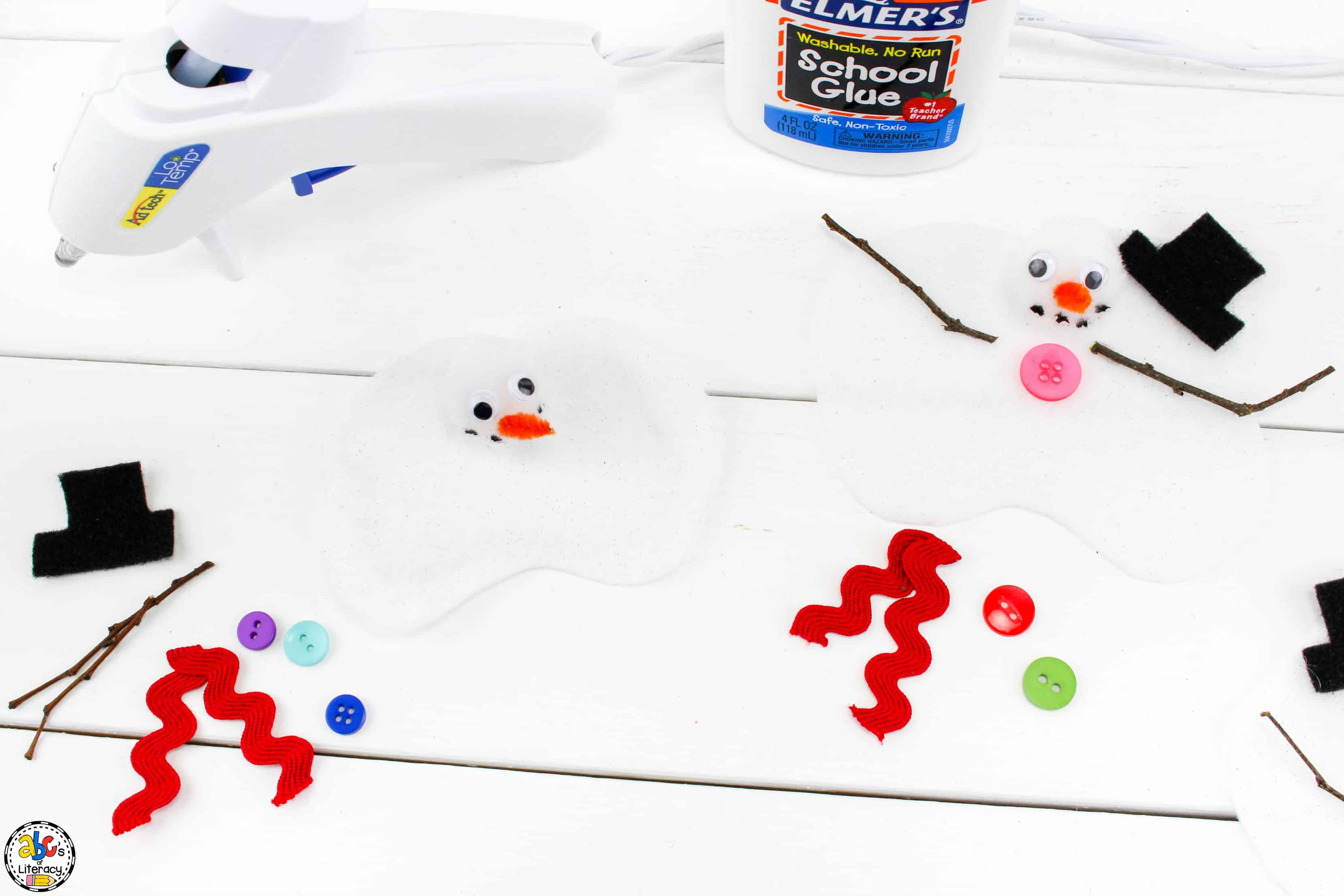 making the melted snowman for this preschool craft