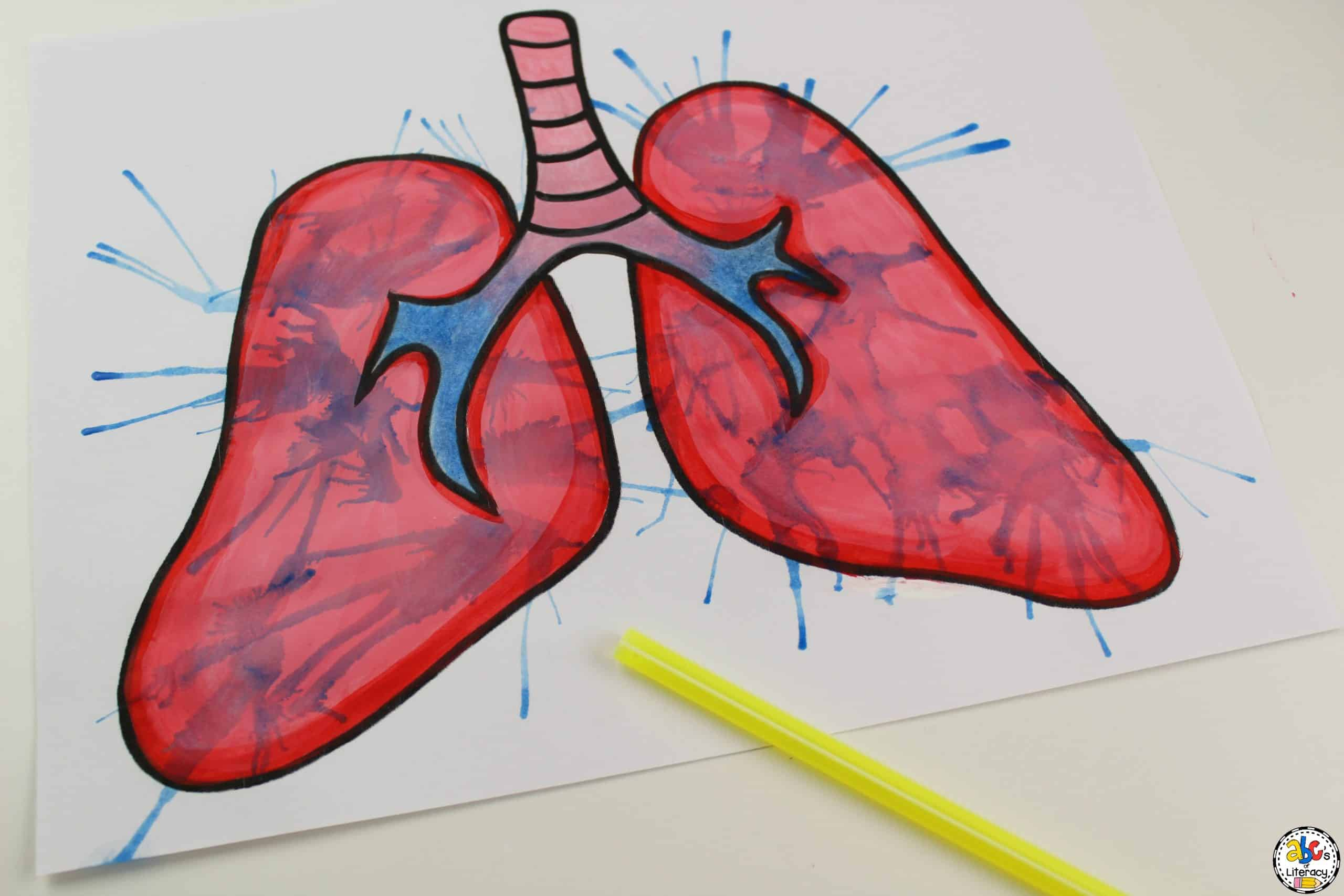 working on the Blow Painting Lungs Craft