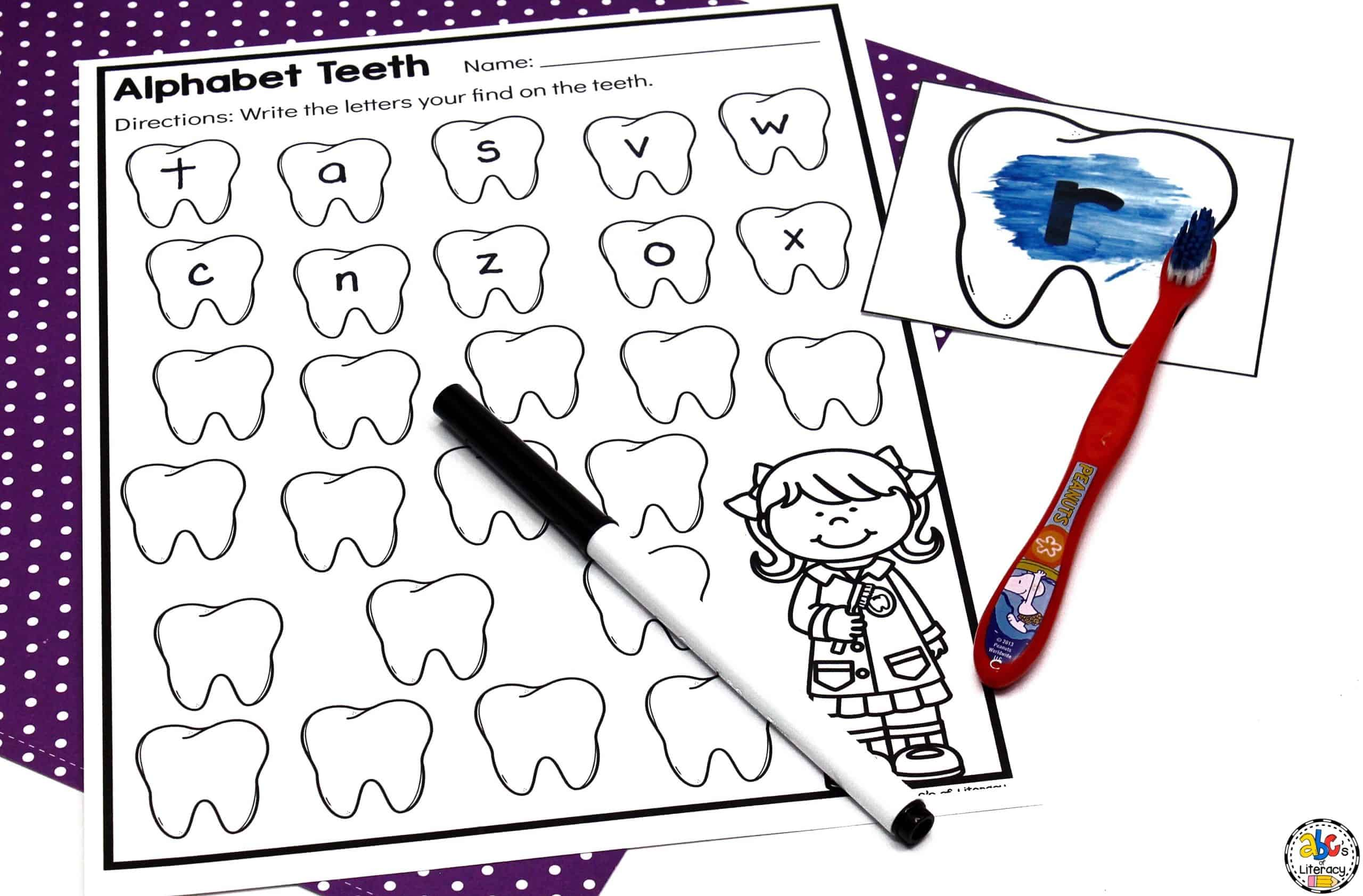 Pre-Reading Activity: Tooth Brushing Letter Activity