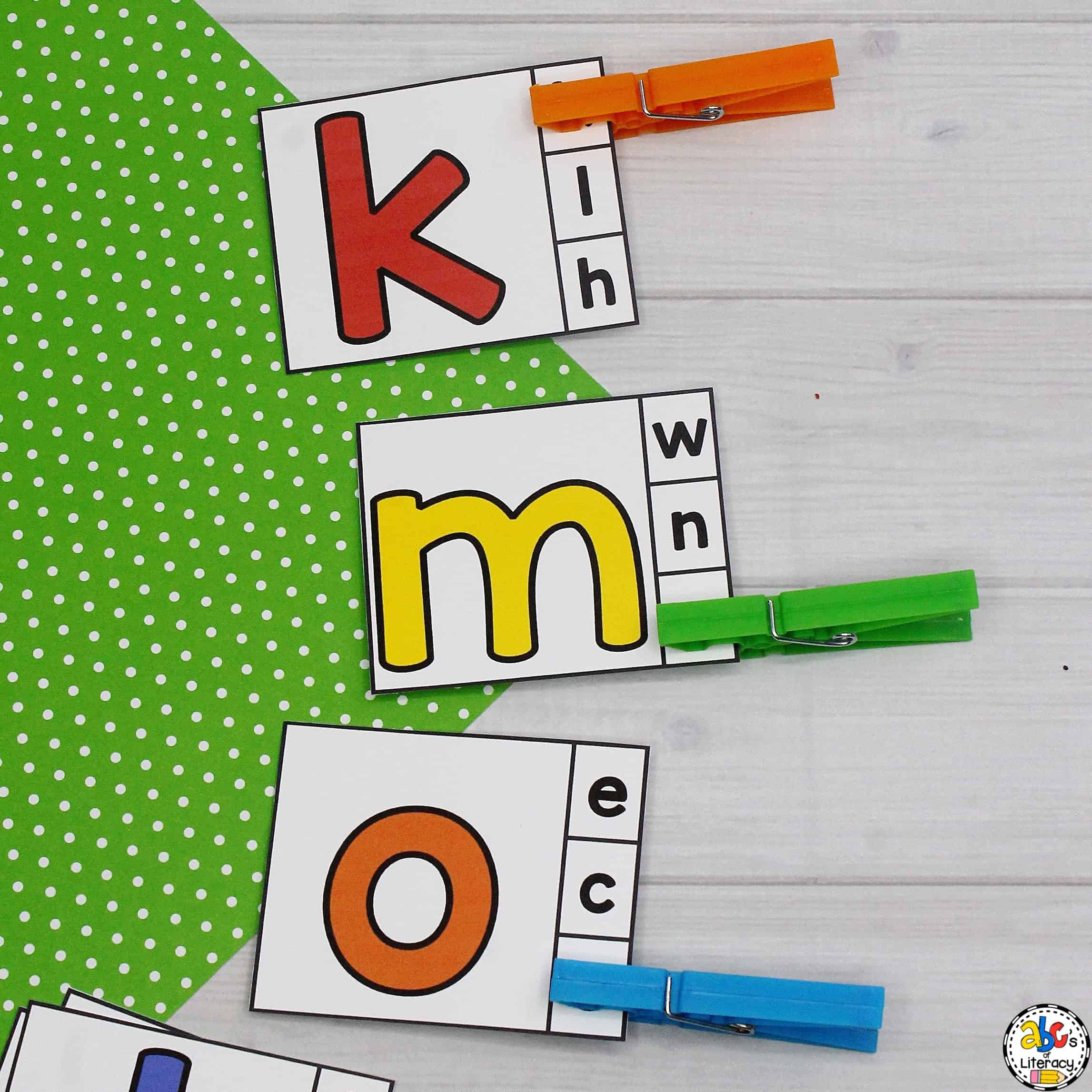 Lowercase Letters to Lowercase Letters Matching Clip Cards