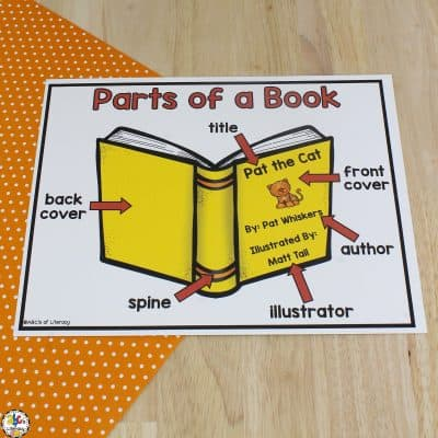 Parts of a Book Poster & Worksheet